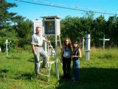 2008 р. Муха Б.П. і студентки практикантки Семен О., Маланчук С. на метеомайданчику РЛГС