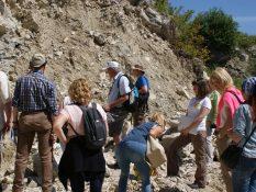 Учасники наукової екскурсії біля відслонення гіпсів